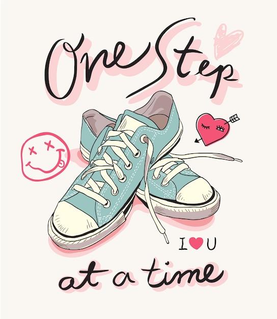 Slogan com ilustração de tênis pastel Vetor Premium