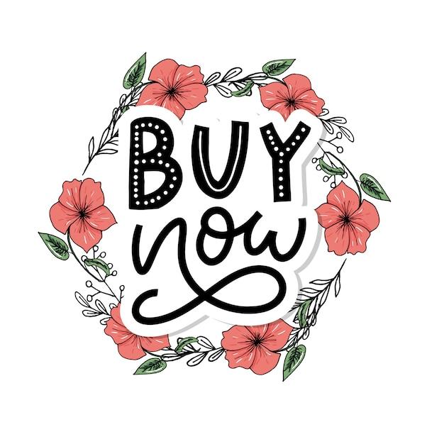 Slogan compre agora a carta para plano de fundo da web. fundo de texto. desconto, venda, compra. ilustração tipografia. tipo de ilustração. negócio sombrio. botão de vetor. design da etiqueta. Vetor Premium