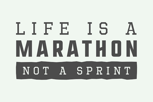 Slogan da maratona do vintage Vetor Premium
