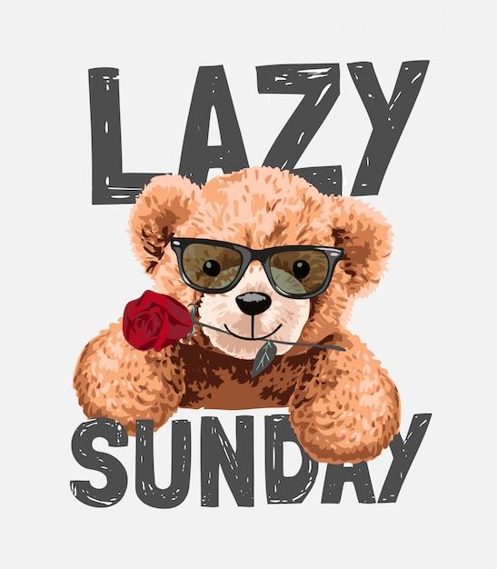 Slogan de domingo preguiçoso com brinquedo urso em óculos de sol com ilustração rosa Vetor Premium