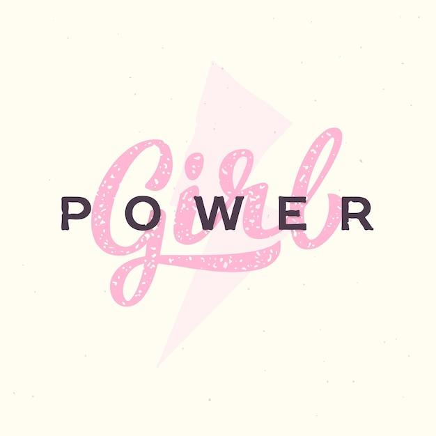 Slogan de mão-letras de poder feminino. logotipo de ilustração de citação de feminismo. Vetor Premium