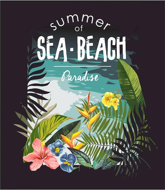 Slogan de praia tropical com ilustração de selva e praia Vetor Premium