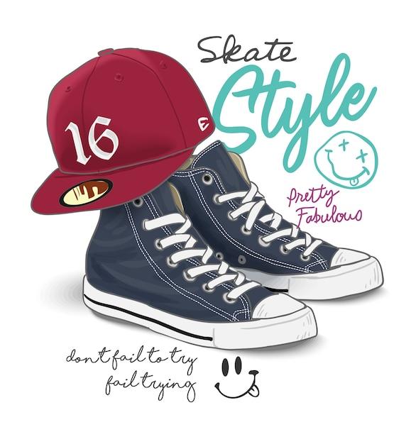 Slogan de tipografia com ilustração de sapatilha e boné Vetor Premium