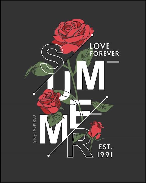 Slogan de verão com ilustração de rosas em fundo preto Vetor Premium