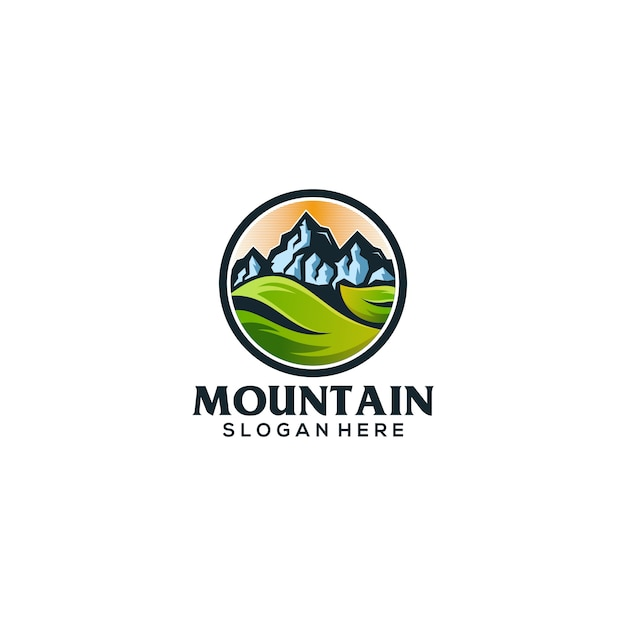 Slogan logotipo da montanha aqui Vetor Premium