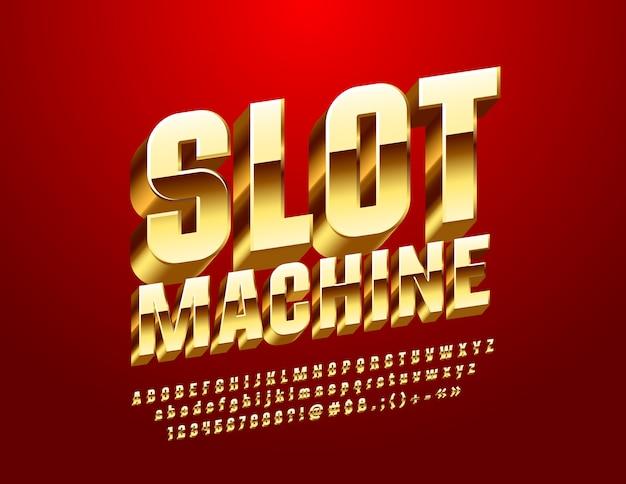 Slot machine casino. fonte 3d dourada. letras, números e símbolos do alfabeto real de luxo Vetor Premium