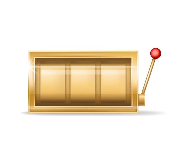 Slot machine dourado, equipamento do casino de jogo Vetor grátis