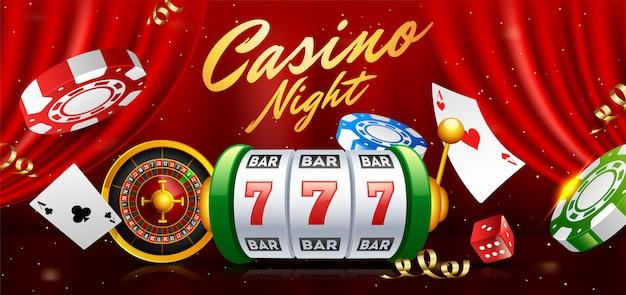 Slot machine realista com roleta Vetor Premium
