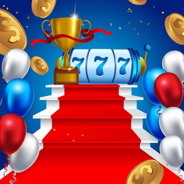 Slot machine sorte sevens jackpot conceito 777 Vetor Premium