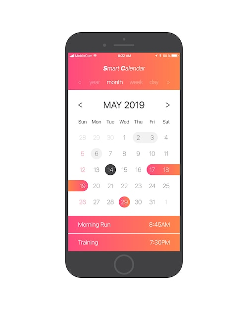 Smart calendar app vetor de conceito de interface do usuário Vetor Premium
