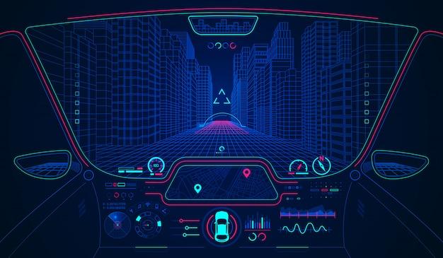 Smart car hud Vetor Premium