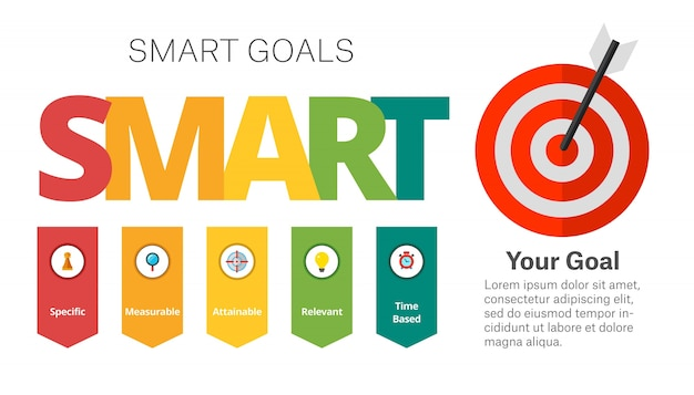 Smart goals setting diagram template Vetor grátis
