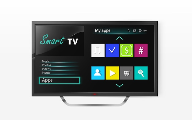 Smart tv set menu na tela de lcd. mock up de televisão de plasma com programa Vetor grátis