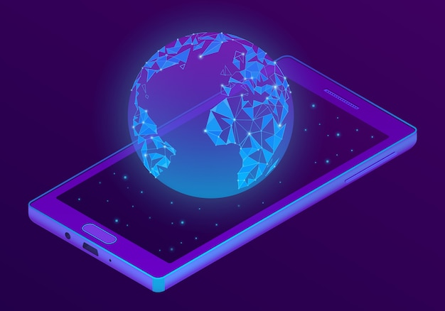 Smartphone 3d isométrico com holograma do mundo Vetor grátis
