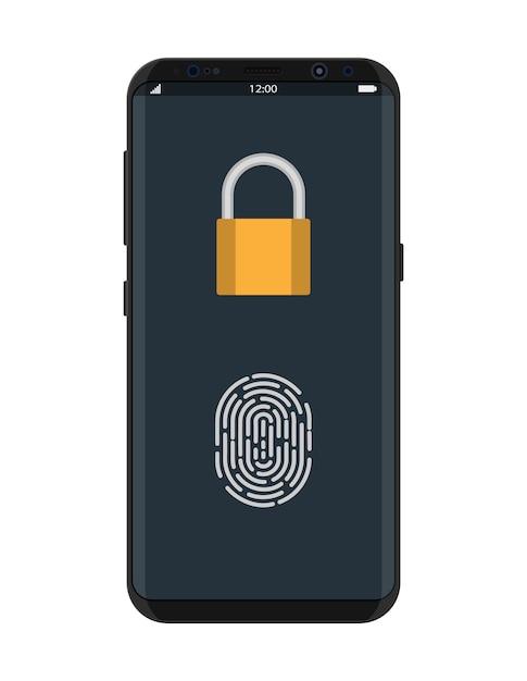 Smartphone bloqueado com cadeado e impressão digital Vetor Premium