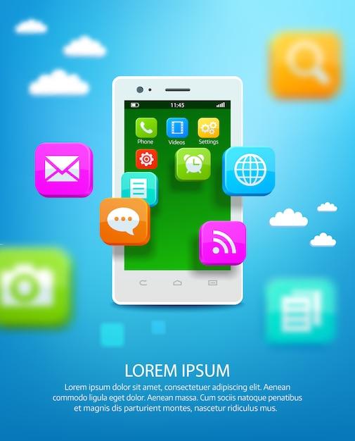 Smartphone branco com nuvem de ícones da aplicação Vetor Premium