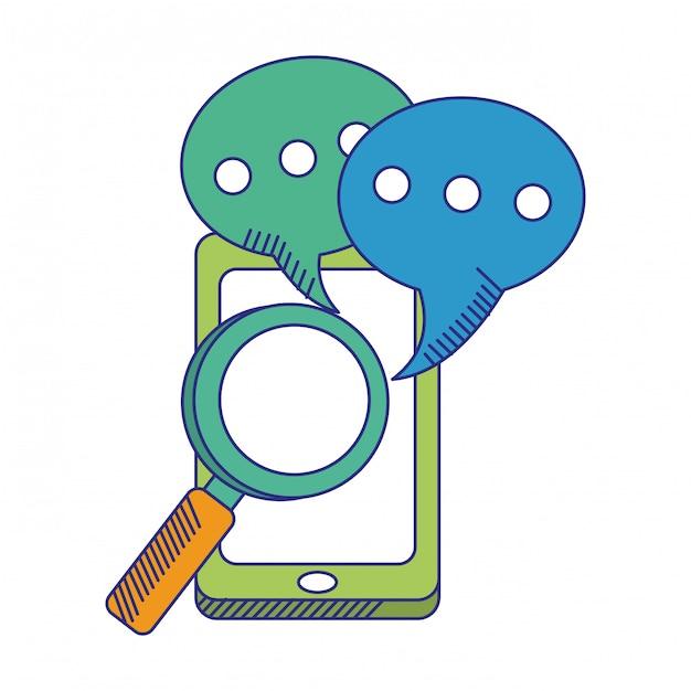 Smartphone com bolhas de bate-papo e linhas azuis de lupa Vetor Premium