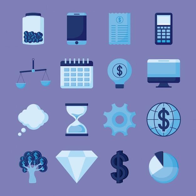 Smartphone com conjunto de ícones economia finanças Vetor Premium