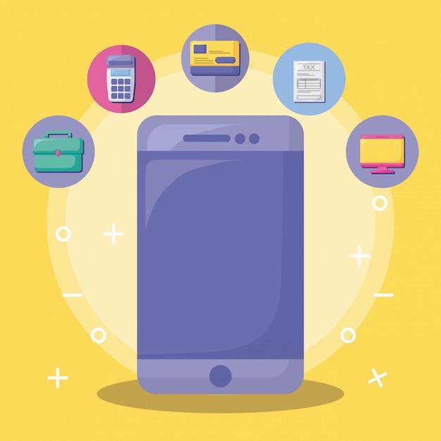 Smartphone com economia e financeiro com conjunto de ícones Vetor Premium