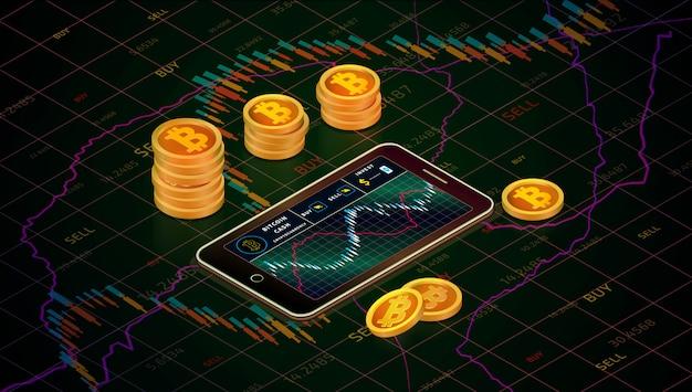 Smartphone com gráfico do dinheiro do bitcoin, conceito isométrico das moedas do dinheiro do bitcoin do ouro. negócio g Vetor Premium