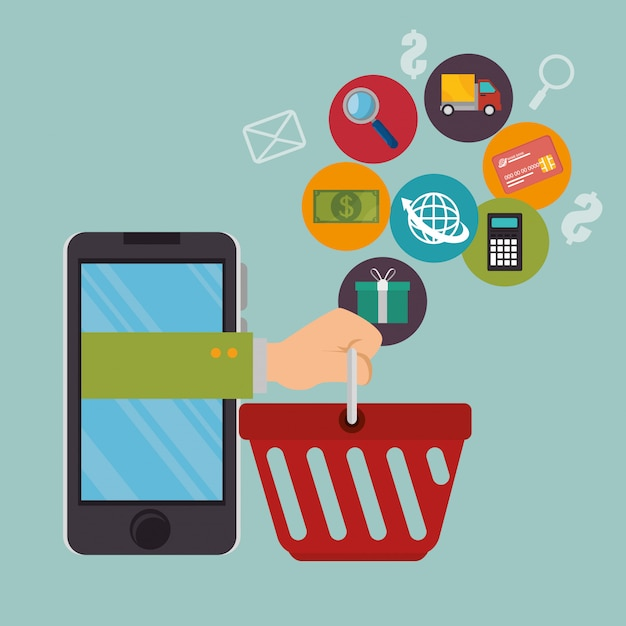 Smartphone com ícones de comércio eletrônico Vetor grátis