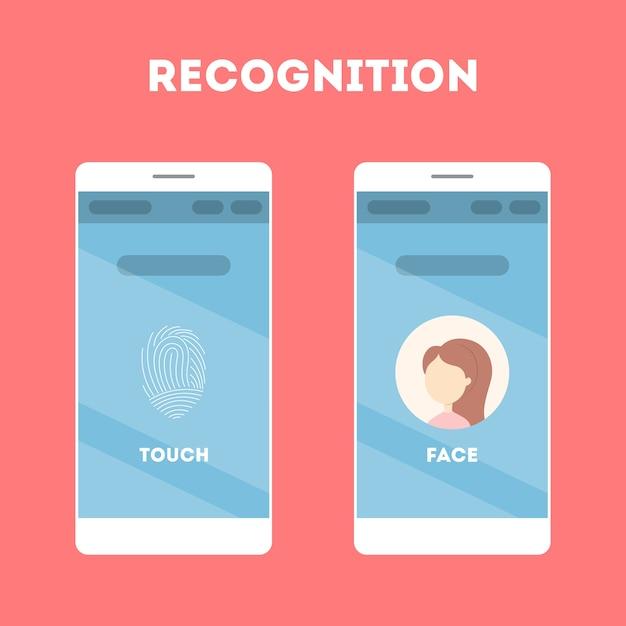 Smartphone com leitor de reconhecimento facial e impressão digital. aplicativo móvel para identificação biométrica. ideia de tecnologia moderna e progresso. ilustração Vetor Premium