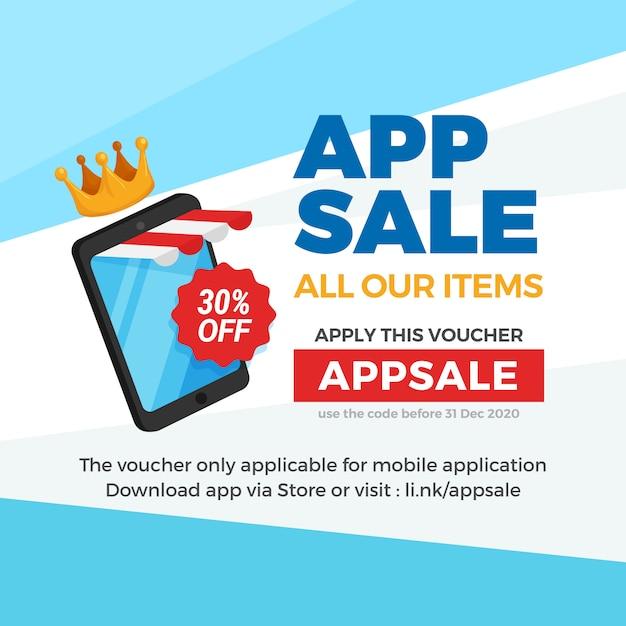 Smartphone com loja listrada toldo para venda de app de comércio eletrônico, promoção de banner de desconto de comprovante. Vetor Premium