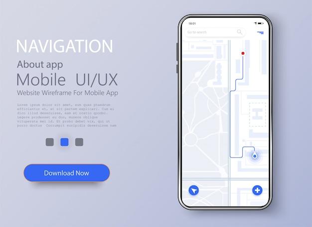 Smartphone com mapa e navegação na tela Vetor Premium