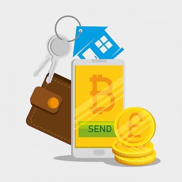 Smartphone com moeda bitcoin e carteira com chaves de casa Vetor grátis