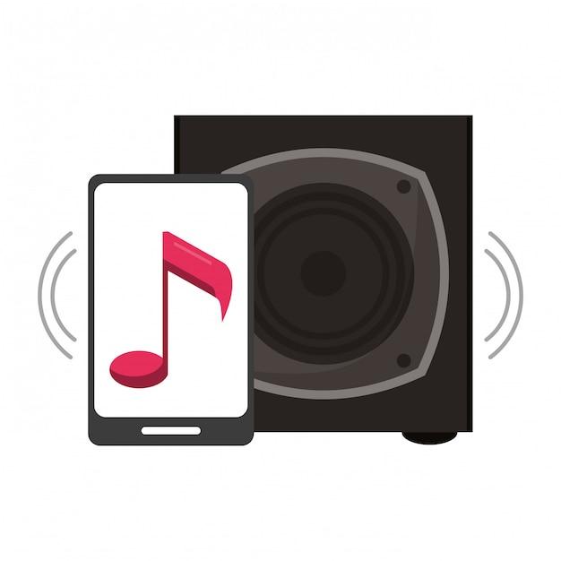 Smartphone com música e alto-falante Vetor Premium