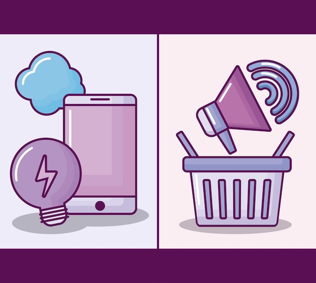 Smartphone com negócios eletrônicos Vetor grátis