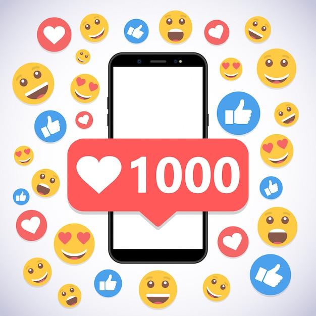 Smartphone com notificação 1000 gosta e sorri para mídias sociais Vetor Premium