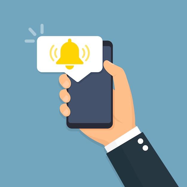 Smartphone com o ícone de notificações. estilo simples Vetor Premium