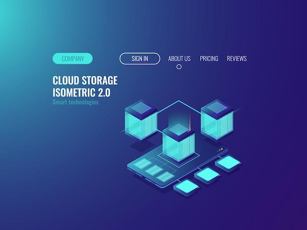 Smartphone com o ícone do banco de dados, baixar arquivos do servidor de nuvem Vetor grátis