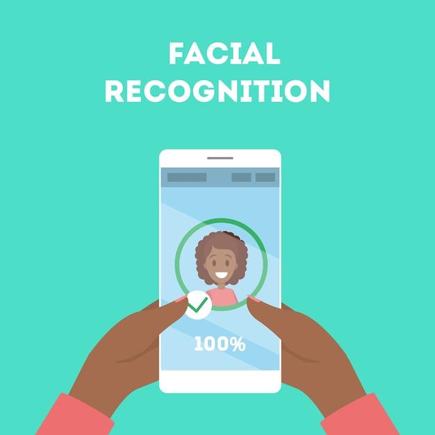 Smartphone com reconhecimento facial Vetor Premium