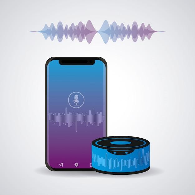 Smartphone conectado com alto-falante sem fio Vetor Premium