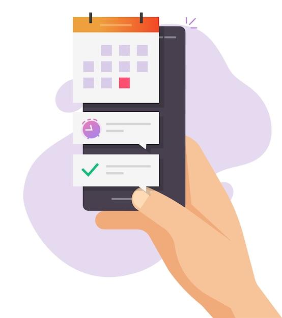 Smartphone data importante prazo final evento digital design plano desenho Vetor Premium