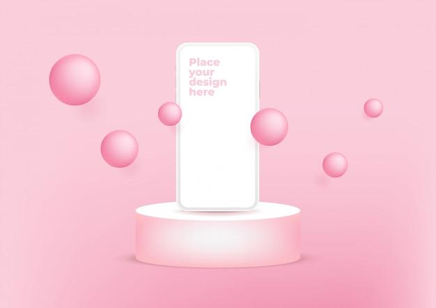 Smartphone de tela em branco no pódio em fundo rosa. Vetor Premium