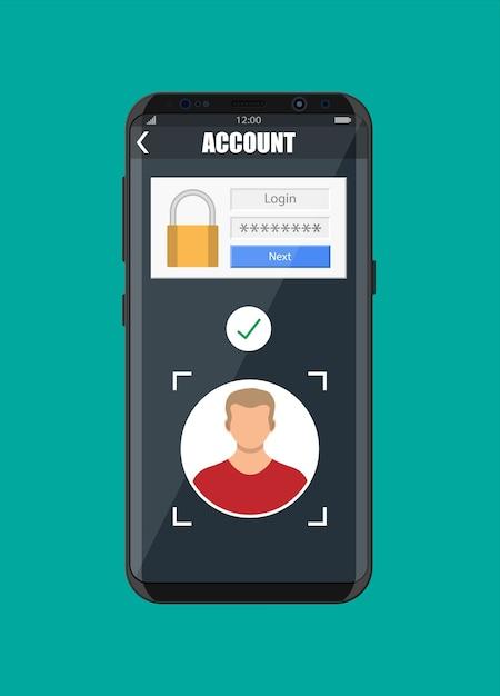Smartphone desbloqueado por reconhecimento facial. Vetor Premium
