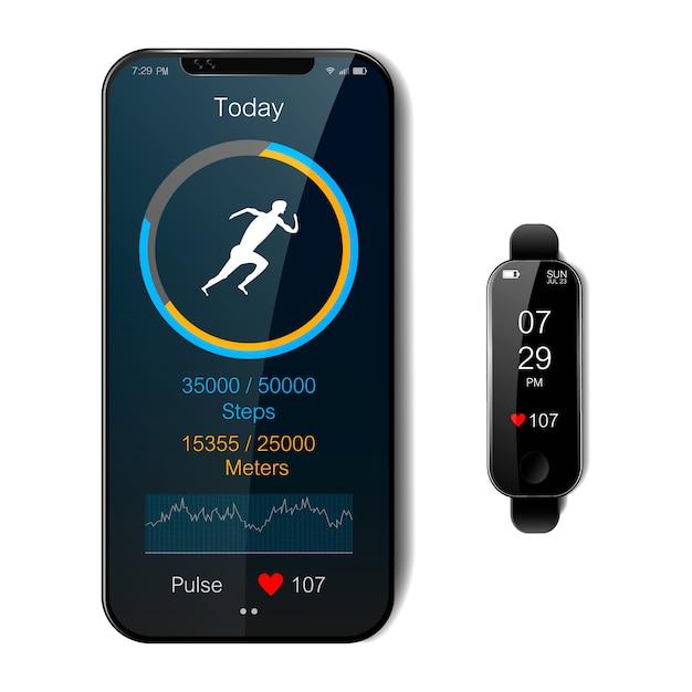 Smartphone e relógio inteligente preto. aplicativo de fitness móvel com rastreador em execução e medidor de frequência cardíaca, conceito de estilo de vida saudável, ilustração vetorial realista Vetor Premium