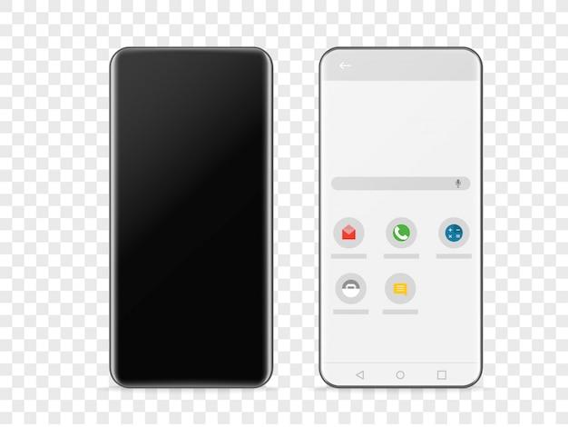 Smartphone frameless moderno isolado em transparente Vetor Premium
