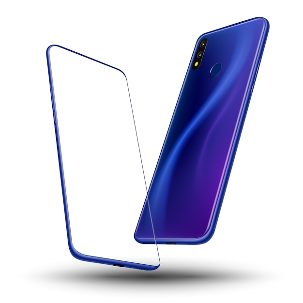 Smartphone frente e atrás Vetor Premium