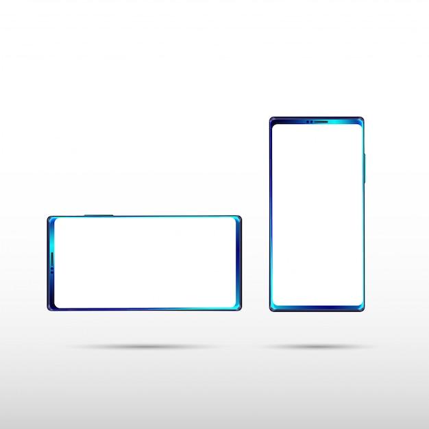 Smartphone isolado moderno no fundo branco Vetor Premium