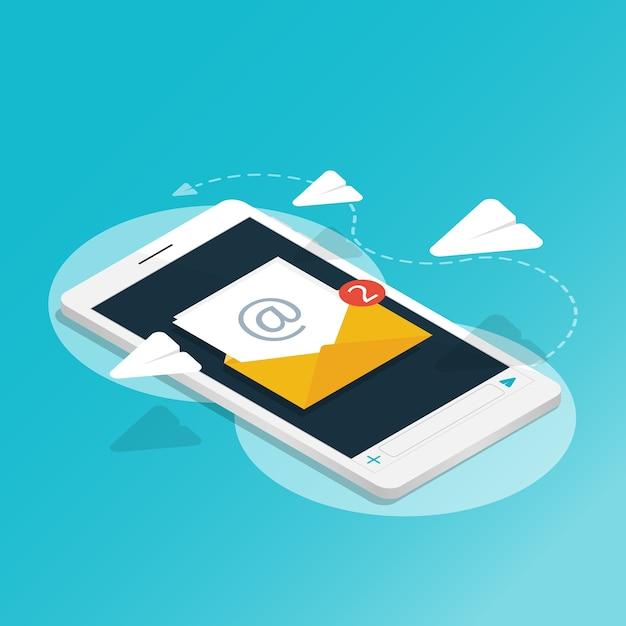 Smartphone isométrica enviar mensagem rocket paper, você tem e-mail, notificações de aplicação v Vetor Premium