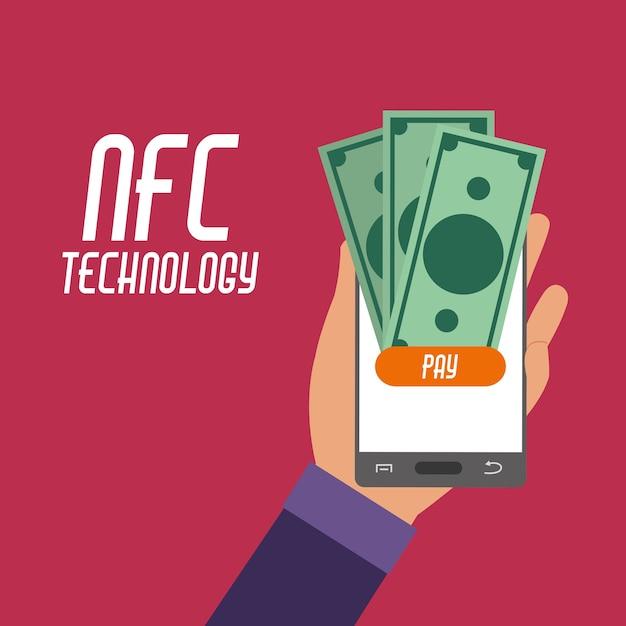 Smartphone na mão com contas nfc para pagamento Vetor Premium