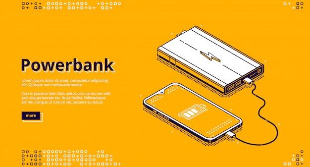 Smartphone powerbank cobrando pouso isométrico Vetor grátis