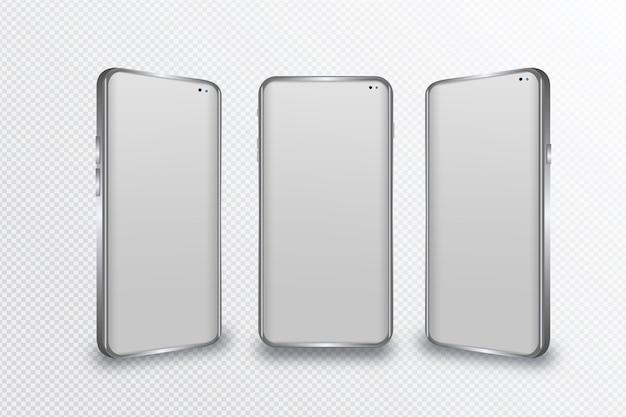 Smartphone realista em diferentes pontos de vista Vetor grátis