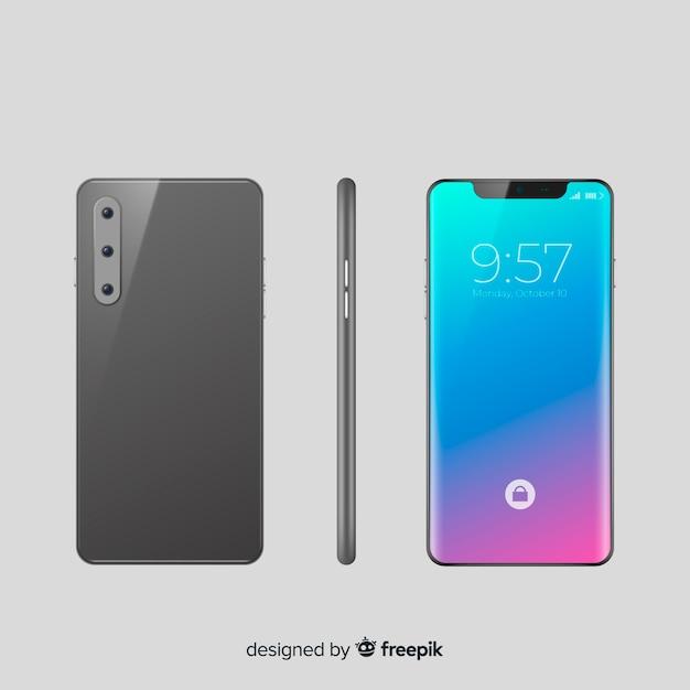 Smartphone realista em posições diferentes Vetor grátis