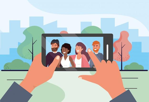 Smartphone selfie com amigos de pessoas engraçadas Vetor Premium
