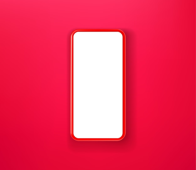 Smartphone vermelho sobre fundo vermelho Vetor Premium